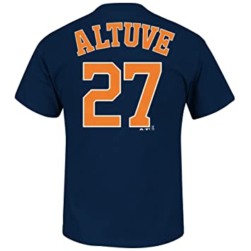 new arrival d83aa bc6b4 Majestic Jose Altuve Houston Astros Navy Jersey Name and Number T-Shirt