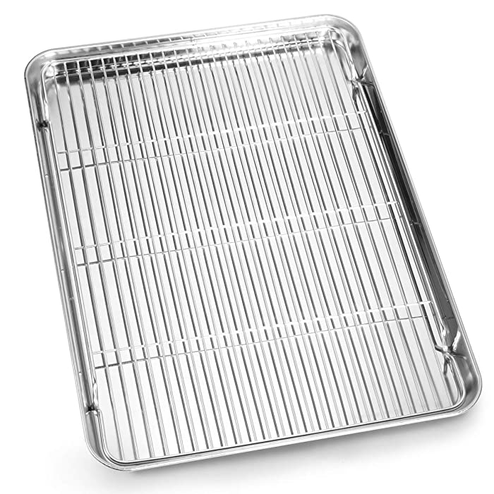 Bastwe Cookie Sheet and Cooling Rack Set, 16 inch Stainless Steel Baking Pan with a Rack, Professional Bakeware, Healthy & Non-toxic & Rustproof & Easy Clean & Dishwasher Safe