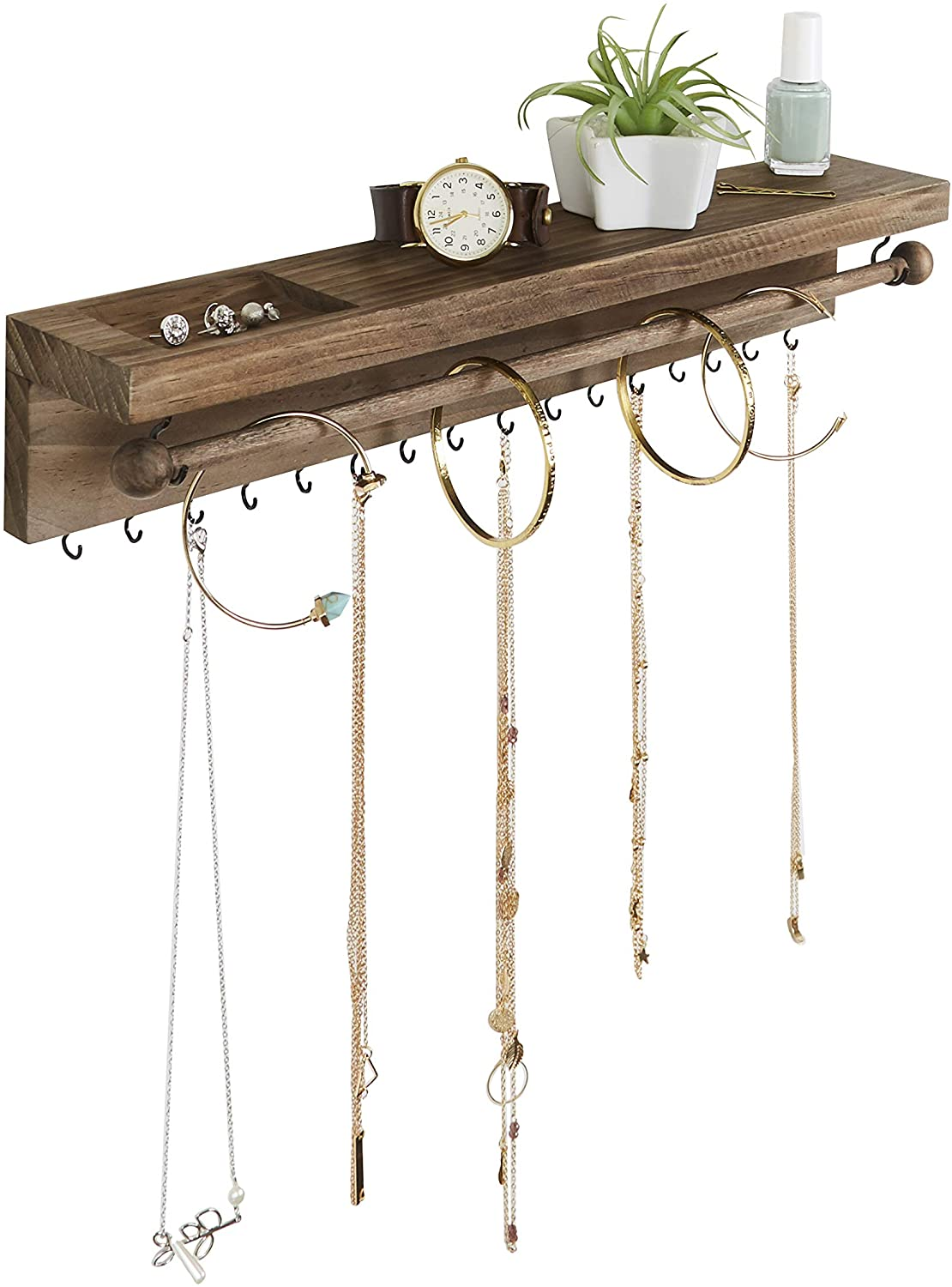 Amazon Com Rustic Jewelry Organizer Wall Mounted Hanging Necklace Holder Wall Mounted Jewelry Hanger Farmhouse Wood Jewelry Display Storage For Necklaces Bracelets And Stud Earrings Home Improvement