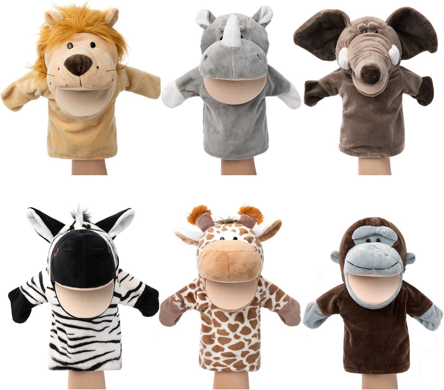 Marionetas de mano de animales Vida salvaje con felpa de boca abierta móvil Juguetes de imaginación Amigos del zoológico perfectos para contar historias, enseñar, preescolar(6 piezas)