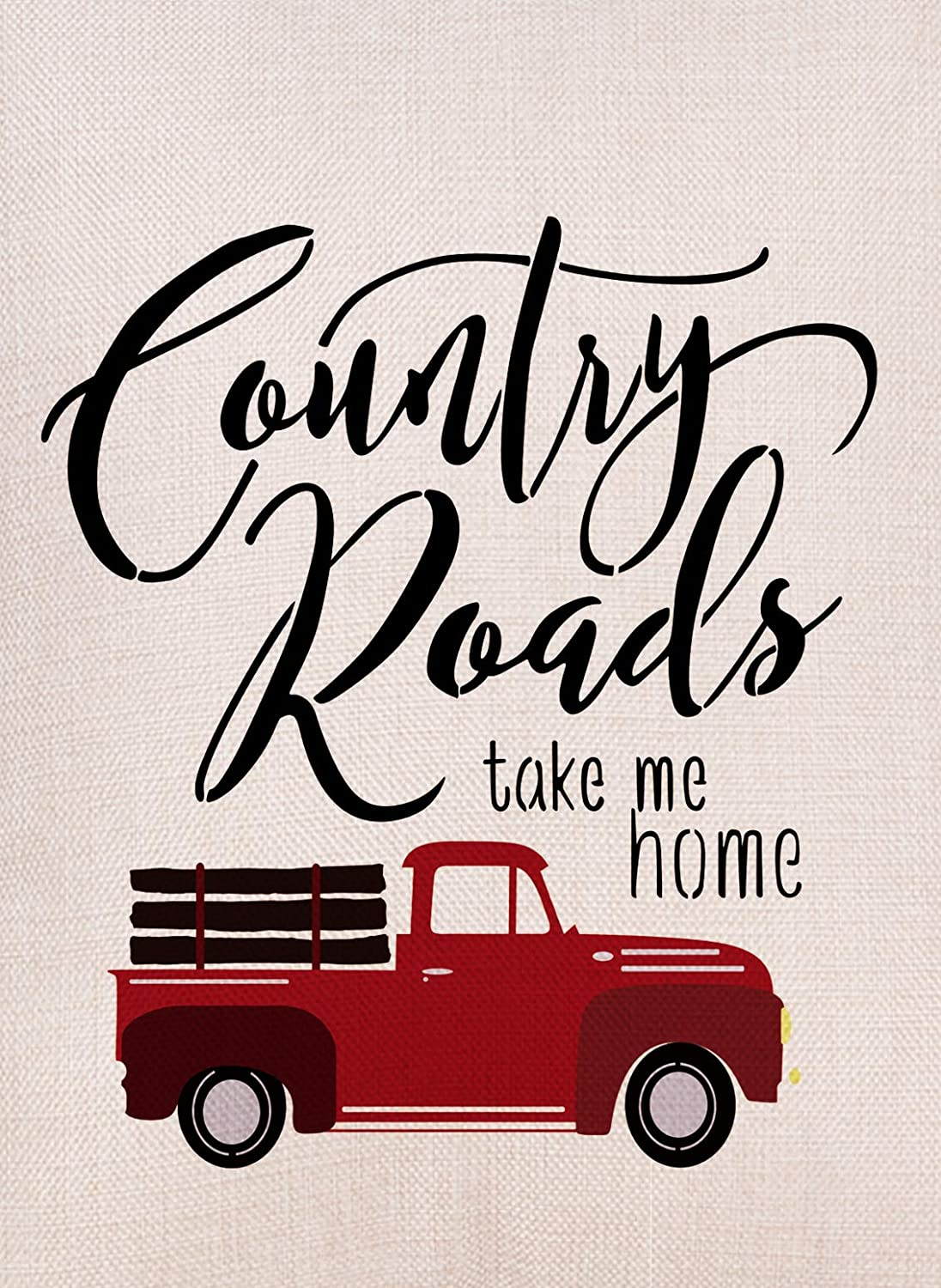 Artofy Country Roads Red Truck Small Garden Flag Double Sided, Home Decorative Burlap Welcome Quotes Farm House Yard Decoration, Vintage Farmhouse Seasonal Outdoor Décor Flag 12.5 x 18 Spring Summer