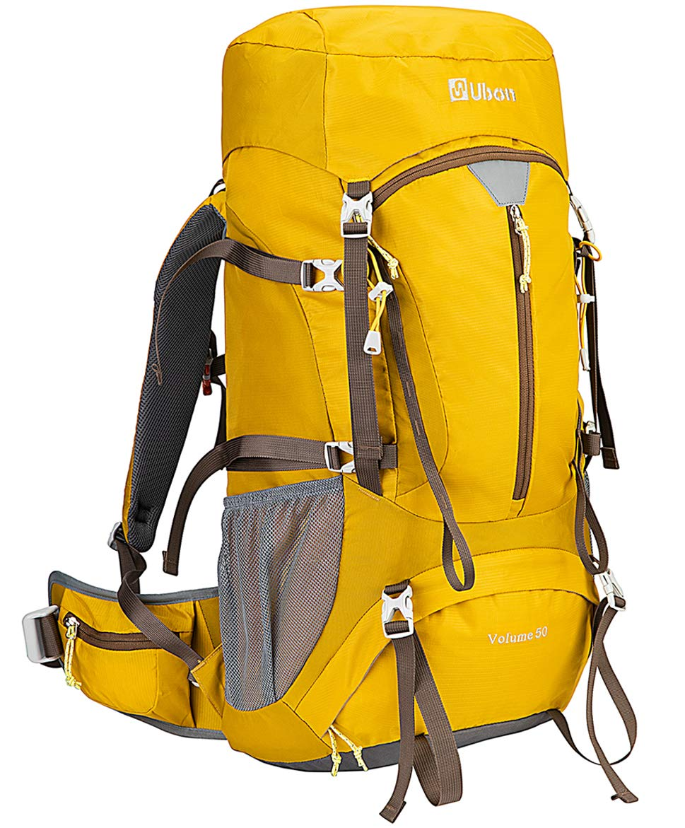 Ubon Ventilated Hiking Backpack 50L Supportive Straps Camping Backpack with Rain Cover Yellow by Ubon