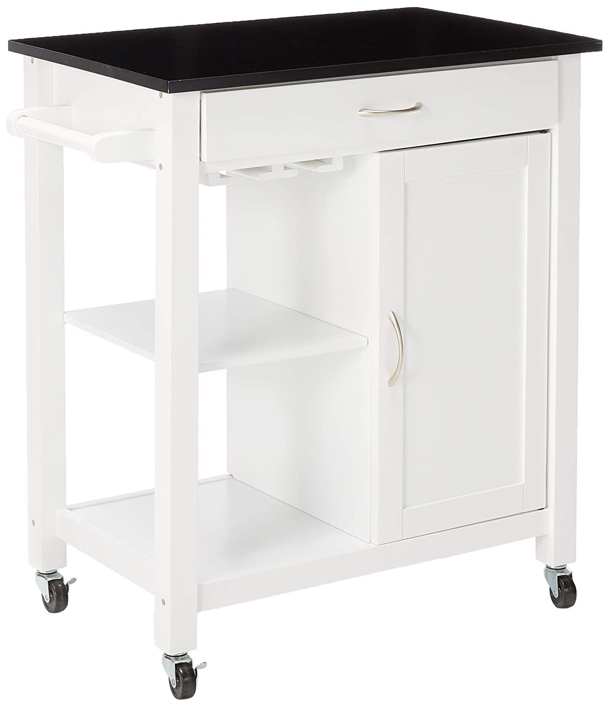 Amazon.com - Major-Q Black and White Finish Wheeled Kitchen Island ...
