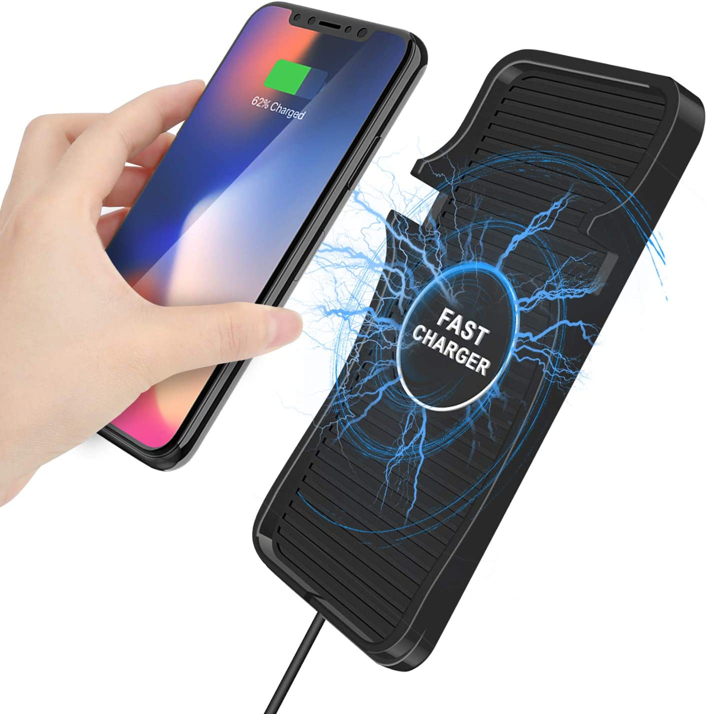 Fast Wireless Car Qi Charger, 10W Wireless Charging Pad Phone Holder, Non Slip Dashboard Wireless Charging Mat for iPhone and Samsung and All Other Qi Enabled Devices