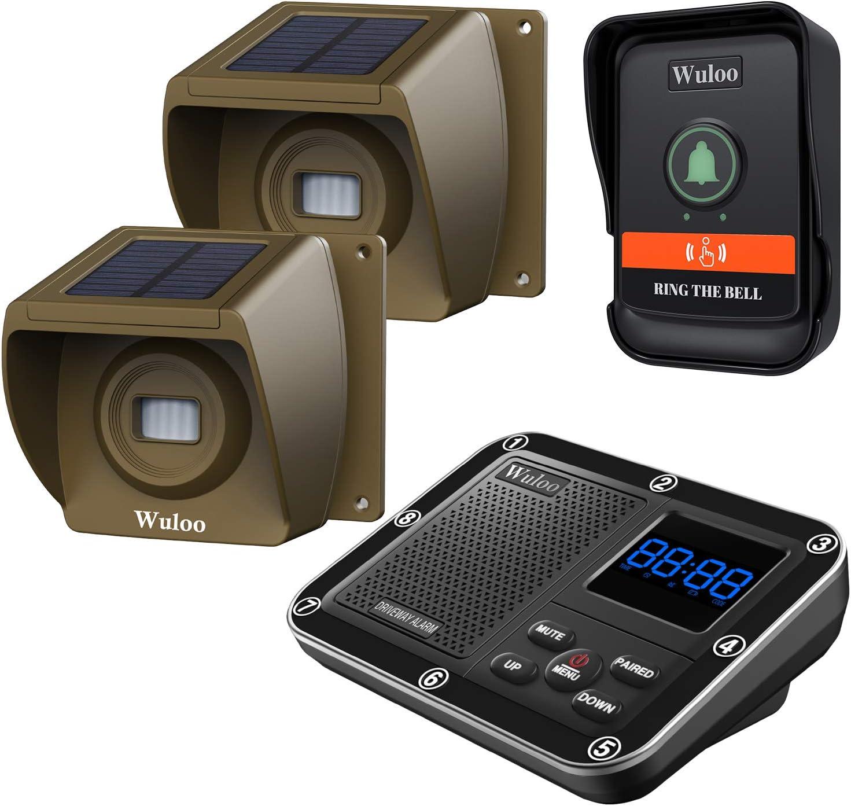 Wuloo Wireless Doorbells for Home, Solar Driveway Alarm, Multifunctional Wireless Home Security System, Rechargeable Battery/Weatherproof/Mute Mode/Clock and Alarm (1 Receiver 2 Sensor 1 Doorbell)