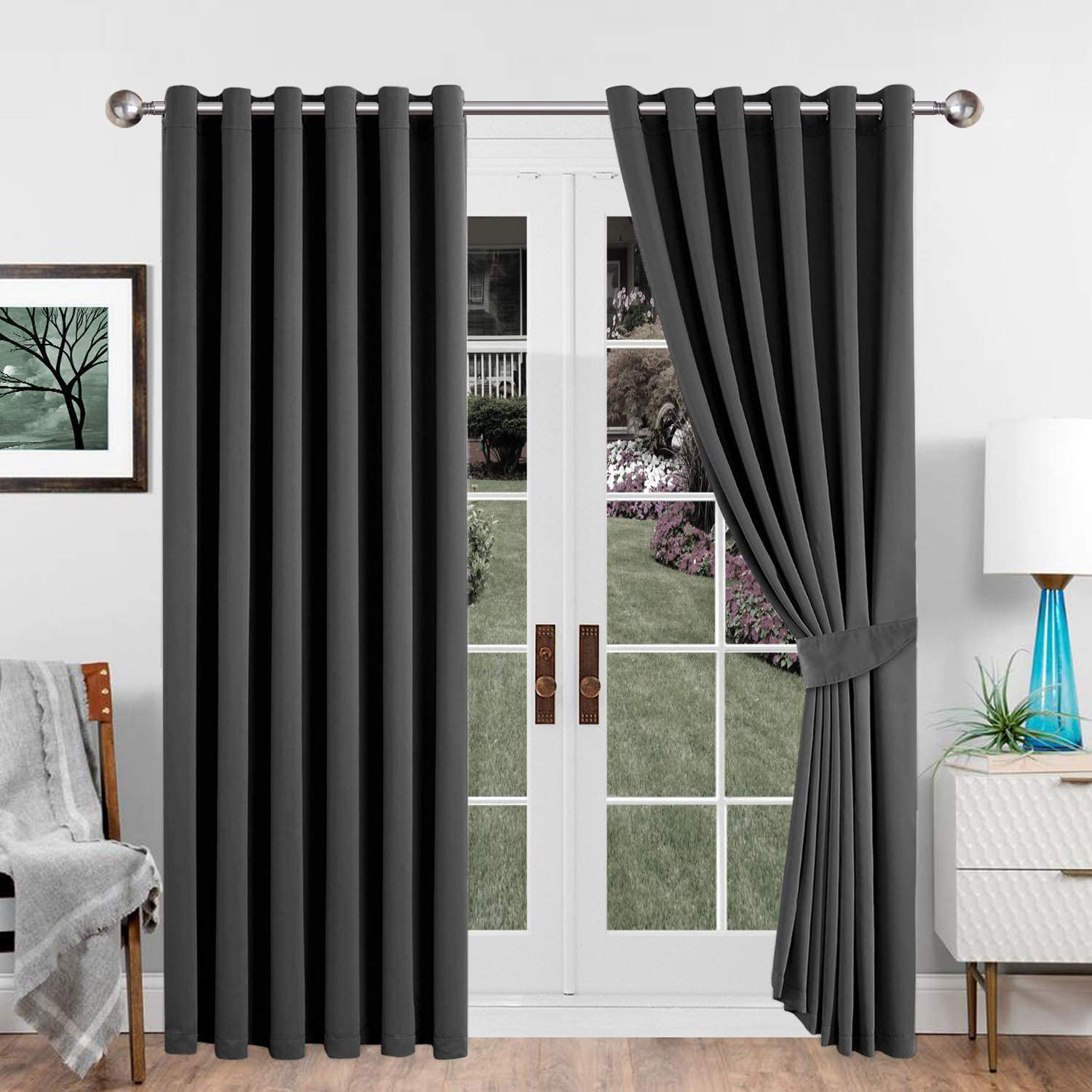 Imperial Rooms Blackout Eyelet Curtains (Grey / 90x90) Pair of thermal Readymade Ring top Curtains for Bedroom Living Rooms with Two Tie Backs 90x90 (228x228cm) Grey - Eyelet