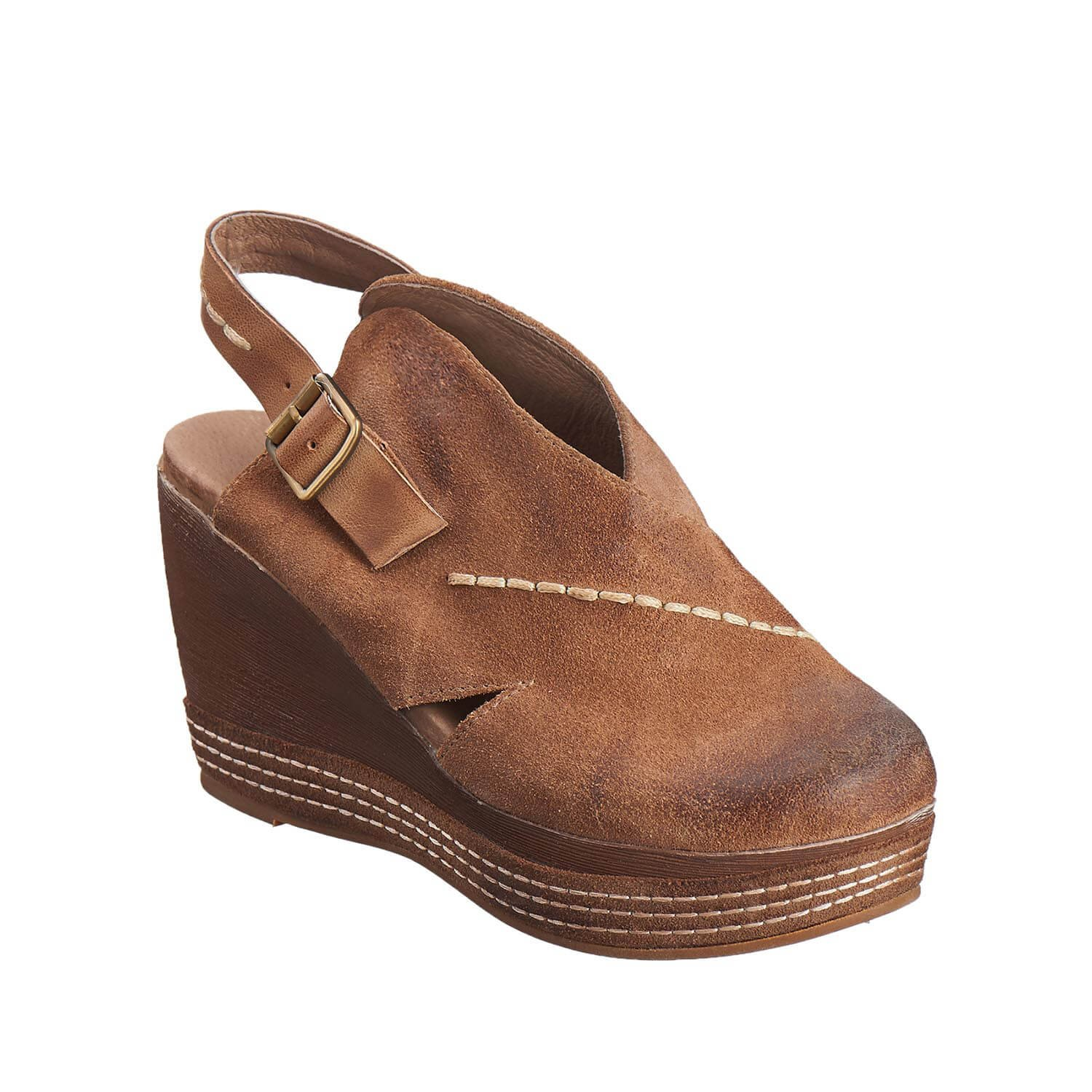 Antelope Women's 836 Taupe Suede Cutout Sling Wedge 38 by Antelope (Image #1)