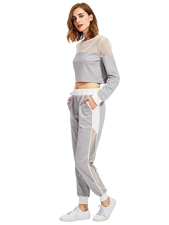 d2d287088b3b SheIn Women's 2 Piece Outfits Long Sleeve Crop Top Sweat Pants Set  Tracksuits at Amazon Women's Clothing store: