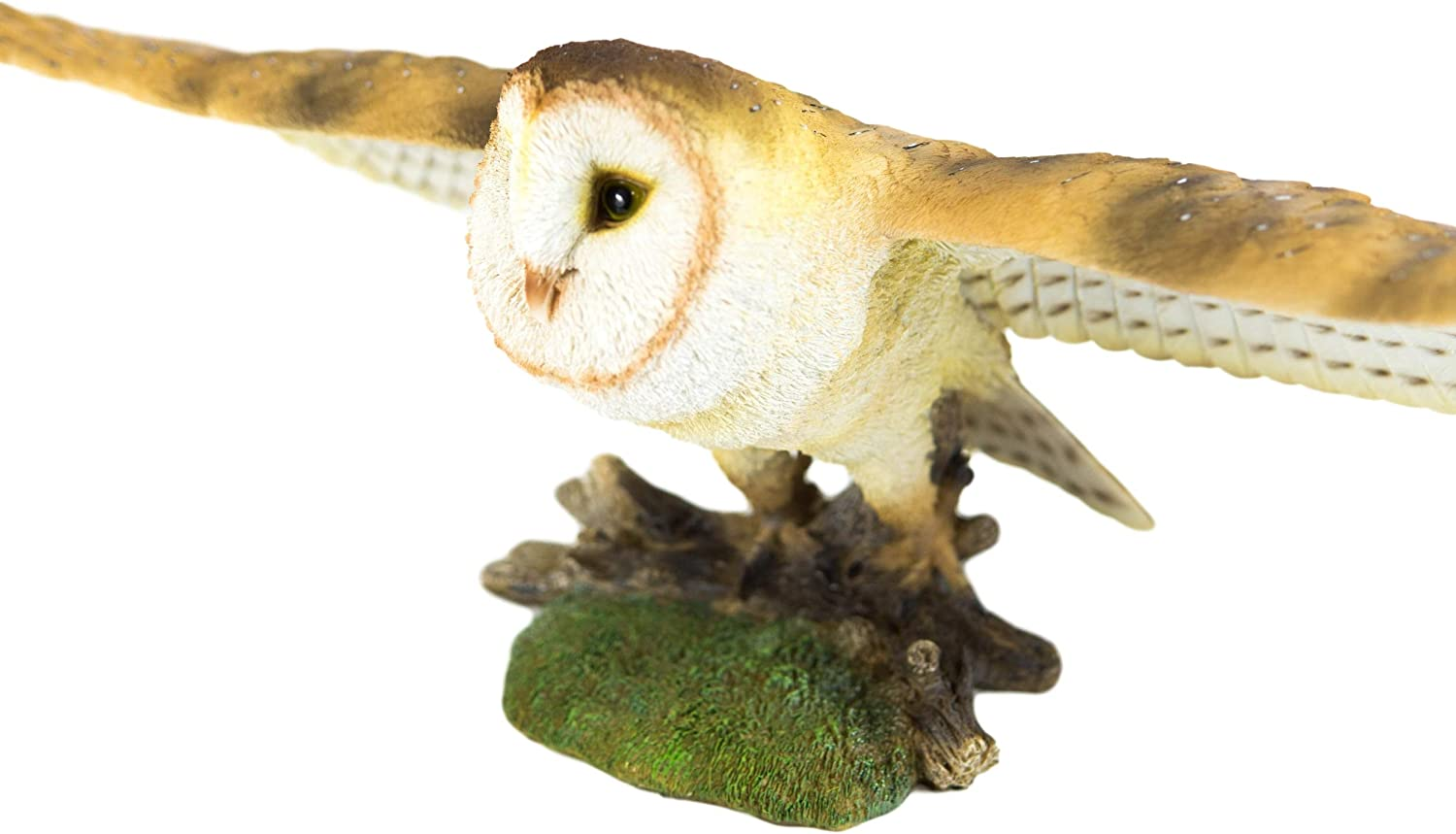 """Large Realistic Common Barn Owl Swooping Over Tree Stump Glass Eyes Statue 30/""""L"""
