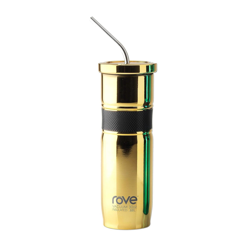 30oz二重壁ステンレススチール真空タンブラーwith RPRバンドとBent Straw (電気めっき) モンテネグロ – 2.2 ゴールド B07D66R1D6  ゴールド