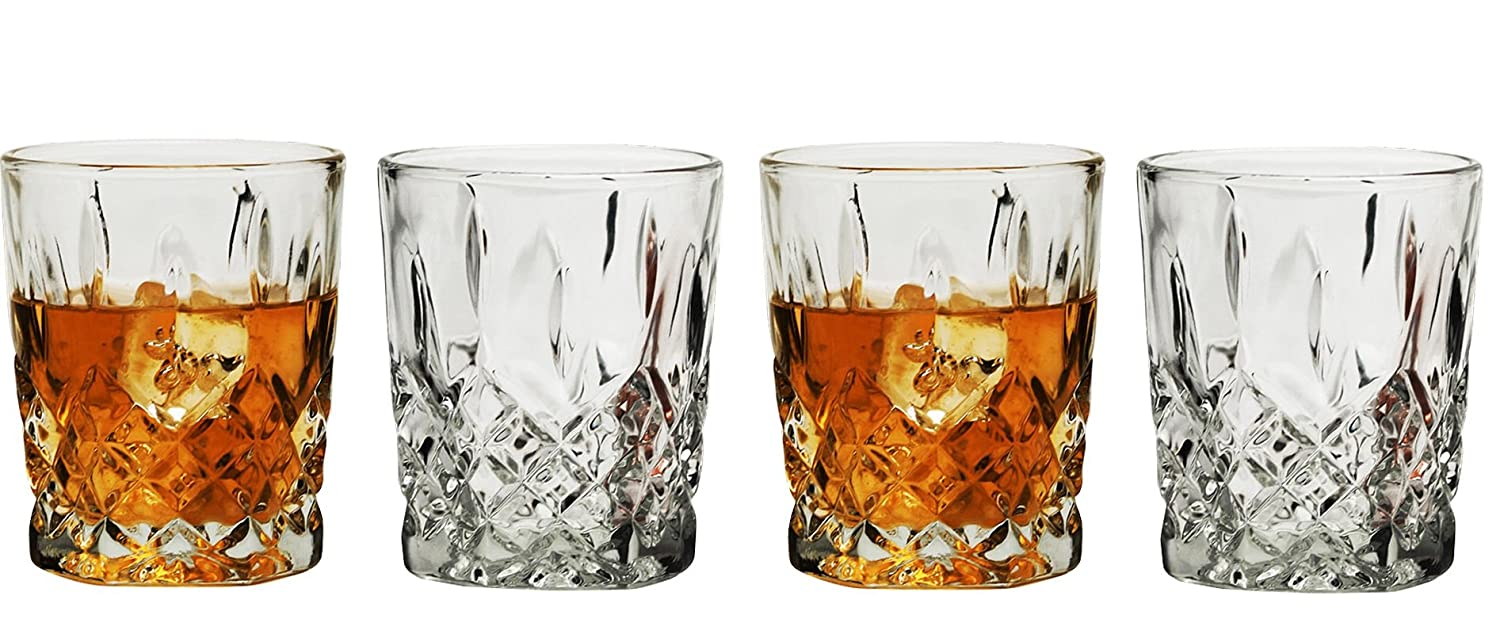 Circleware Nottingham Double Old Fashioned Whiskey Drinking Glasses, Set of 4, 10 ounce, Clear 55489