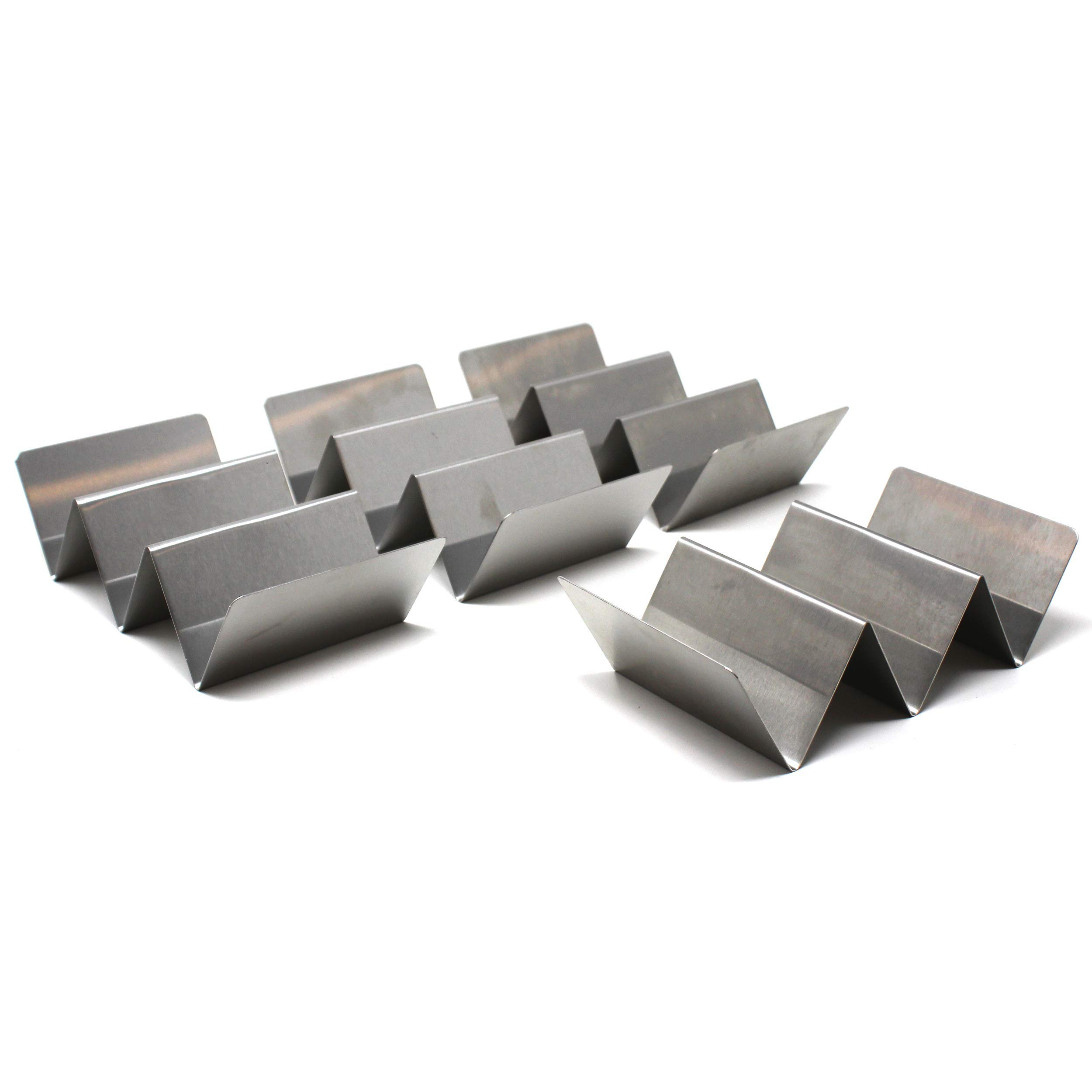 VistosoHome Stainless Steel Taco Holder 4-Pack - Taco Serving Stand Fits 3 Tacos - Great for Hard or Soft Shell Tacos - Dishwasher & Oven Safe - Stylish & Modern Taco Rack (Silver)
