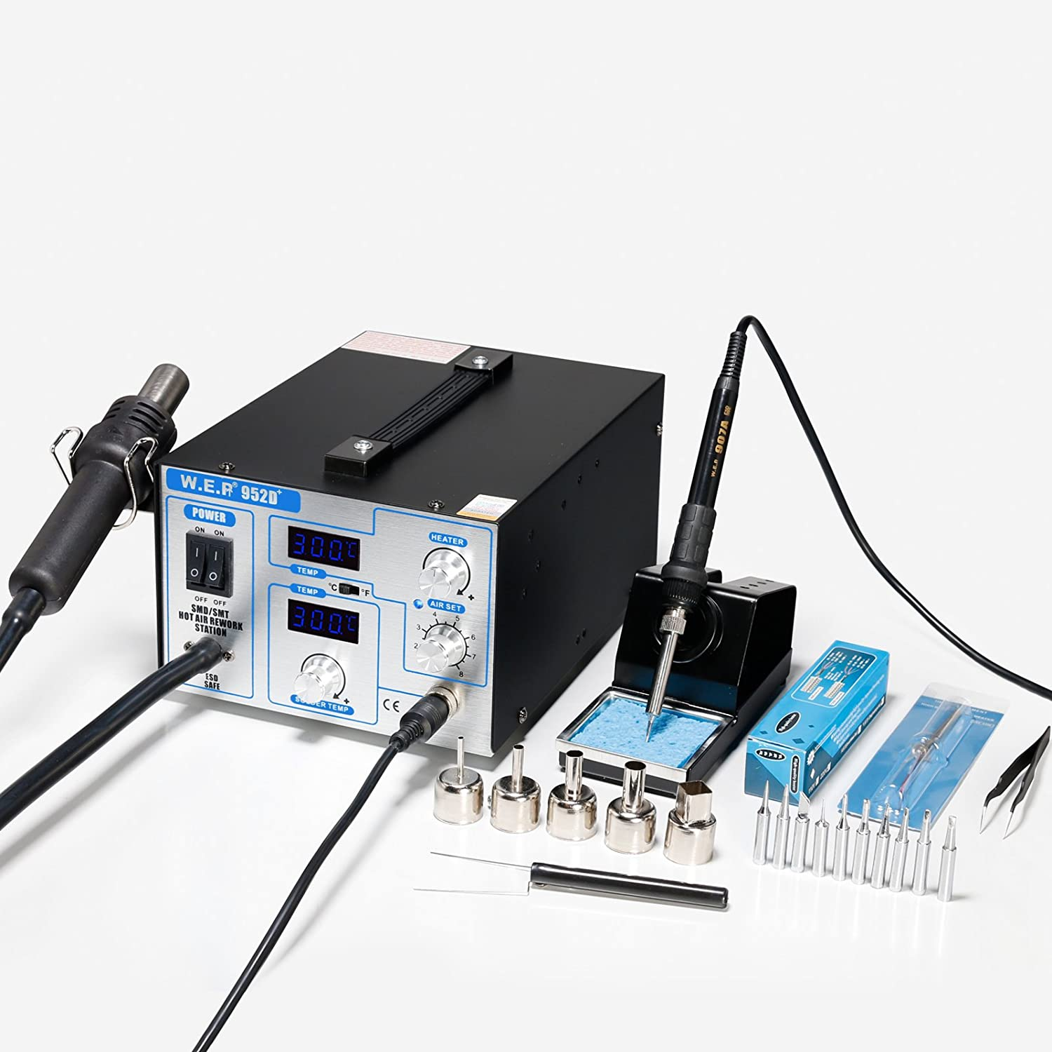 WEP-952D+ SMD ESD SAFE 2 IN 1 HOT AIR REWORK SOLDERING IRON STATION NEW UK Yihua