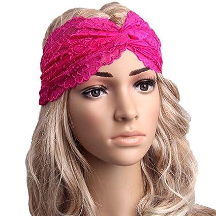 Auxma Moda Mujeres Headwear Twist Sport Yoga Encaje Diadema Turbante pañuelo en la Cabeza Wrap Accesorio para el Pelo Rosa Caro