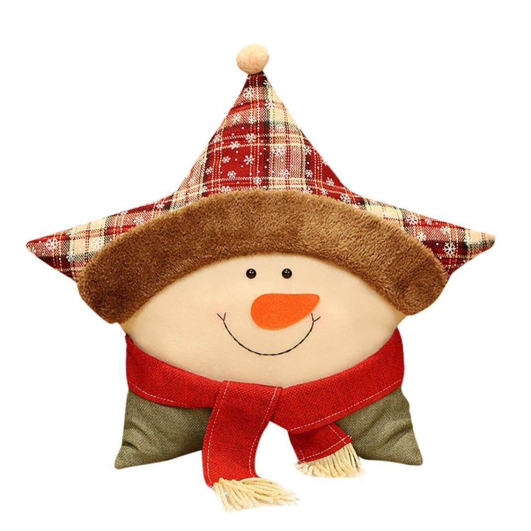 nacomeクリスマステーマソファの枕ホームデコレーション(枕ケースカバー&枕コア) B0778M53HG  C