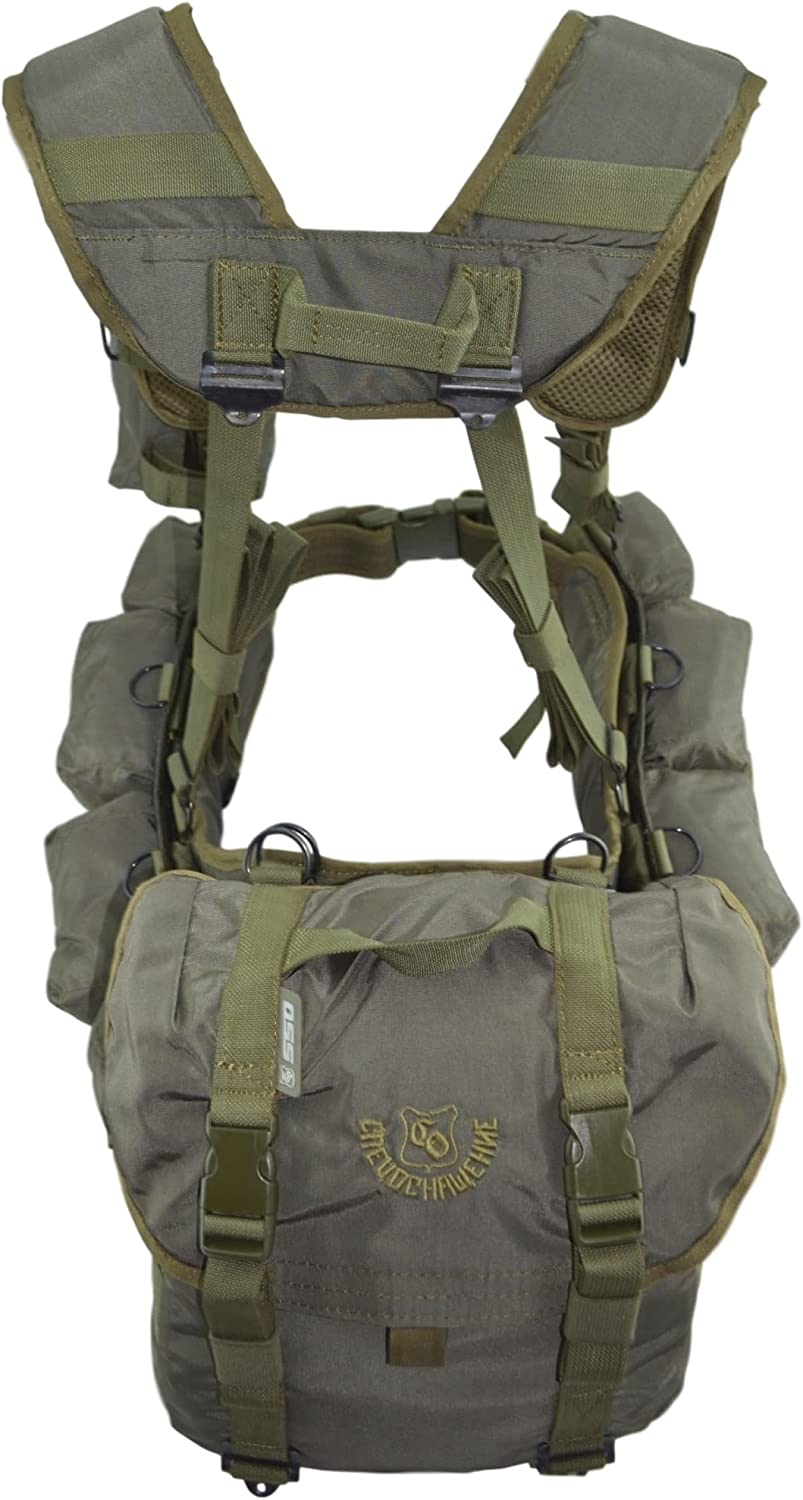 Image of the Smersh Russian Assault Vest, front pocket with buckle closures, green and gray color combination.