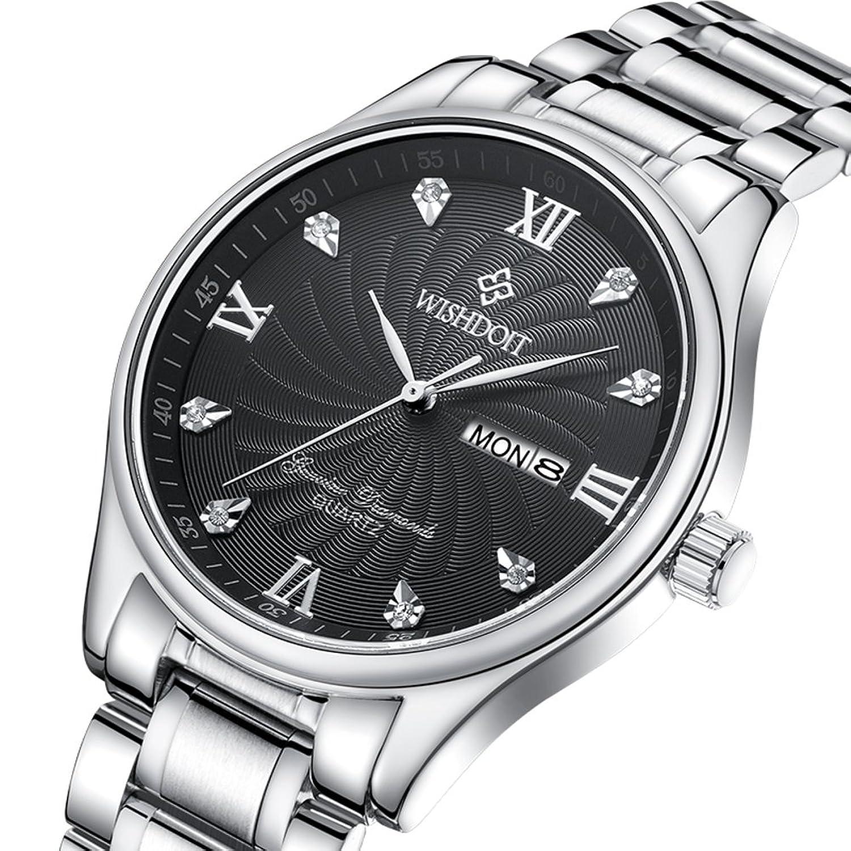 ステンレススチールメンズ腕時計/ビジネスカジュアル腕時計/ [防水カレンダー時計] -d B06XJM193B