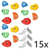 Rayinblue Climbing Stones 80mm Kids Mixed Colour Wall Rock Holds Grip With Fixing Set of 15pcs