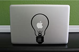 "Light Bulb Apple Macbook Laptop Traditional Custom Decal Sticker (4""w X 7""h) Black or White"