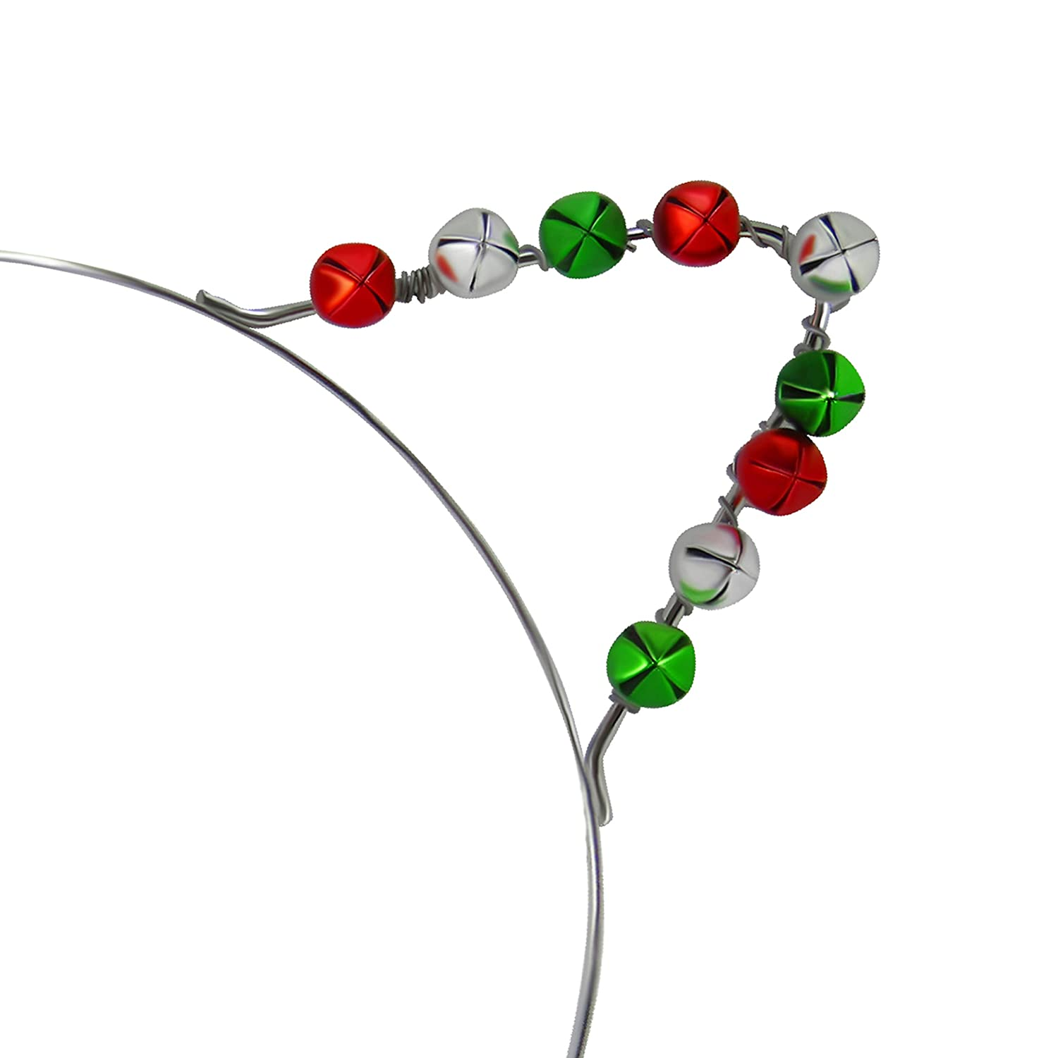 Festive Christmas Holiday Cat Ears Headband with Small Red Green and Silver Jingle Bells
