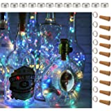 SFUN Wine Bottle Lights with Cork- 5 Dimmable Modes with Timer 10 Pack-12 Replacement Battery Operated LED Silver Wire Fairy