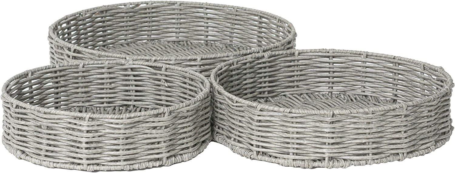 RGI Home Round Resin Wicker Serving Tray Baskets - Large Handcrafted Metal Frame Organizers for Serving, Entertaining and Decorating, Set of 3 (Light Gray)