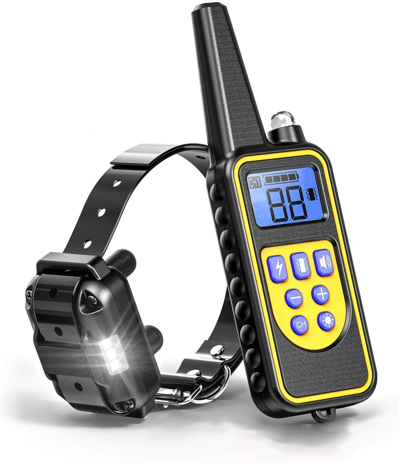 PPTech Dog Shock Collar with Romete 100 Waterproof Dog Training Collar with Beep Vibration Shock LED Light Shock Collar for Small Medium Large Dogs, 2600ft Remote Range, Rechargeable