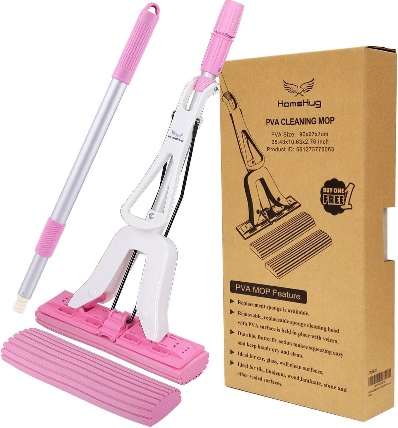 HomsHug - Mopa de suelo absorbente de PVA: mango de extensión ajustable para escurridor – 2 recambios de cabeza de profesión para limpieza de suelos y eliminación de orina de olor para