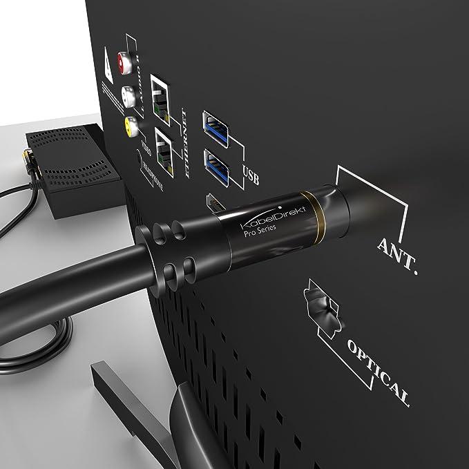 KabelDirekt – 2m Cable de Antena TV (75 Ohm, HDTV, Toma coaxial acodada 90° W a Conector coaxial Recto M, Cable coaxial, soporta HDTV, DVB-T2, DVB-C, ...