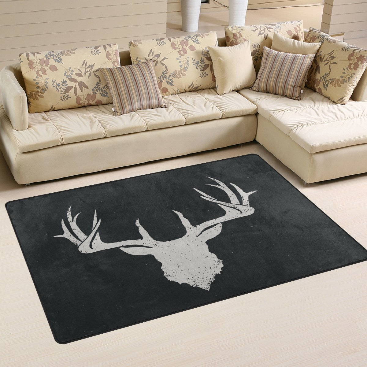 WOZO Deer Head Vintage Area Rug Rugs Non-Slip Floor Mat Doormats Living Room Bedroom 31 x 20 inches g2987742p146c161s240