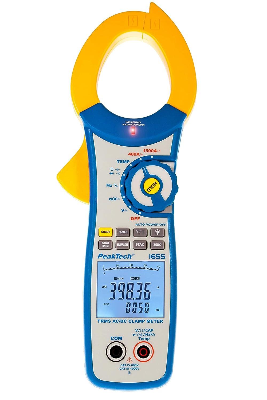 PeakTech 1655 - Pinza amperimétrica RMS 1500A AC/DC, 40000 cuentas ...