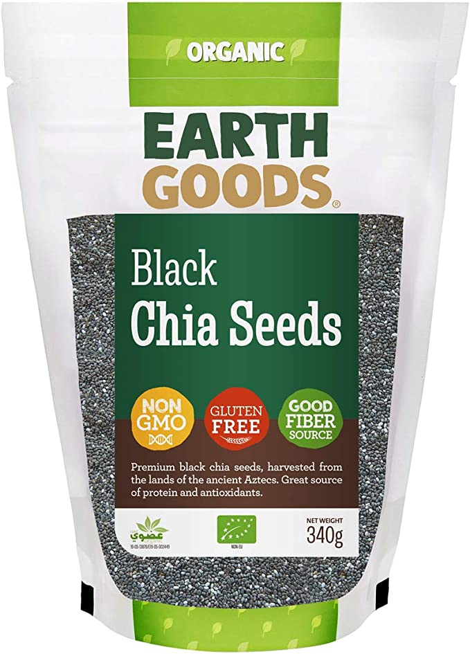 Earth Goods Organic black Chia Seeds, NON-GMO, Gluten-Free, Good Fiber Source 340g: Buy Online at Best Price in UAE - Amazon.ae