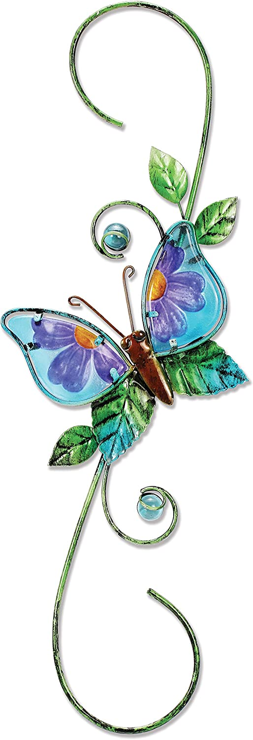 Sunset Vista Designs 91772 Metal and Glass Decorative Plant Hook, Butterfly