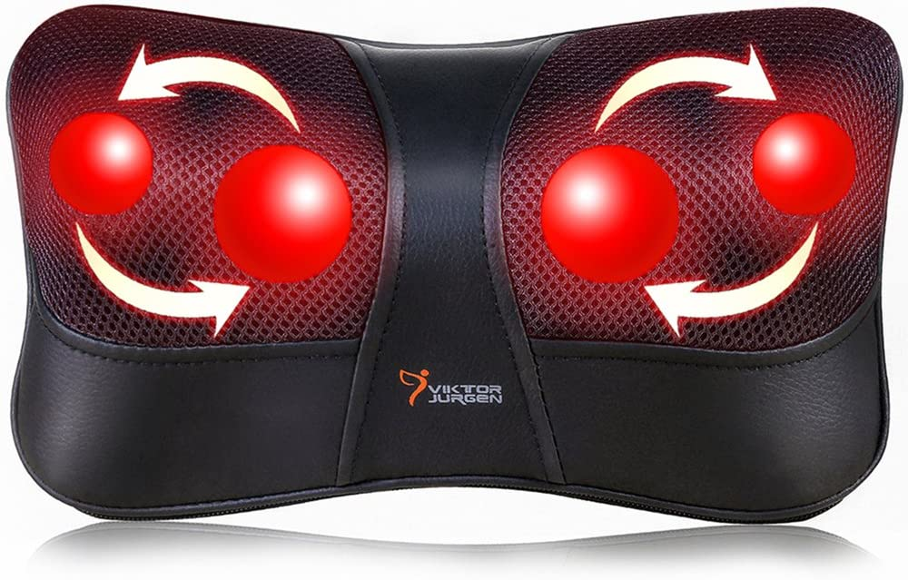 Shiatsu Back and Neck Massager, VIKTOR JURGEN Deep Tissue Kneading Neck Massage Pillow with Heat for Full Body Muscle, Shoulder, Foot at Home, Car, Office, Relaxation Gifts for Men, Women