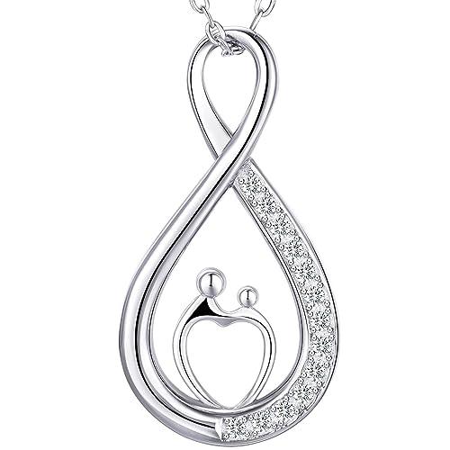 9f0170cf0267 Billie Bijoux Plata de ley 925 Collar infinito blanco Oro plateado Diamante  Mamá y niños Colgante El mejor regalo para el día de la madre 18