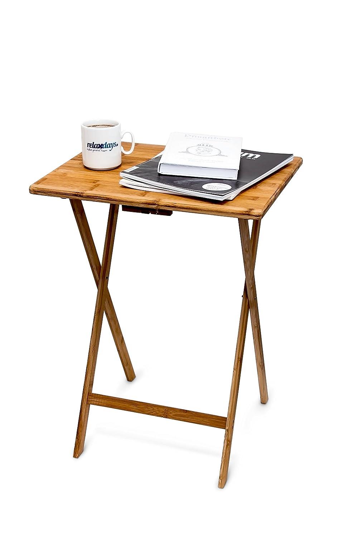 Relaxdays 10015834 Tavolino Pieghevole, Salvaspazio, Resistente, Legno, bambù, Ecosostenibile, HxLxP: 63x48x38,5 cm, Marrone