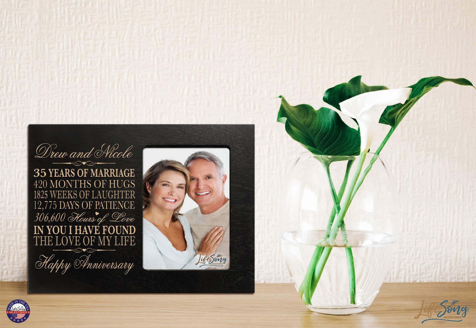 LifeSong Milestones Personalized 35th Year Wedding Anniversary Picture Frame Gift for Couple 35th for Her 35th Wedding for Him Photo Frame Holds 1 4x6 Photo 8'' H X 10'' W (Black) by LifeSong Milestones (Image #4)