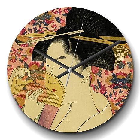 Reloj de pared redondo de cuarzo Kitagawa Utamaro, diseño ...