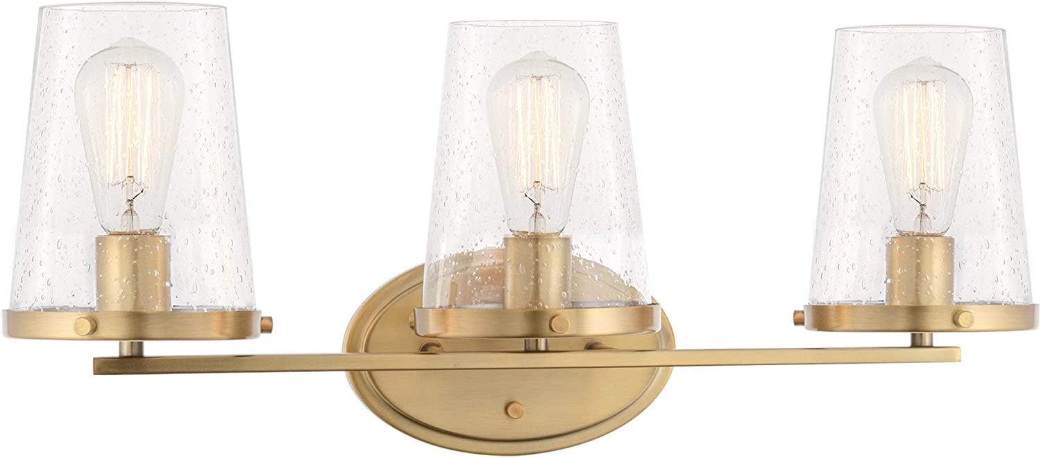 "Kira Home Trinity 24"" Modern 3-Light Vanity/Bathroom Light, Seeded Glass Shades + Warm Brass Finish"