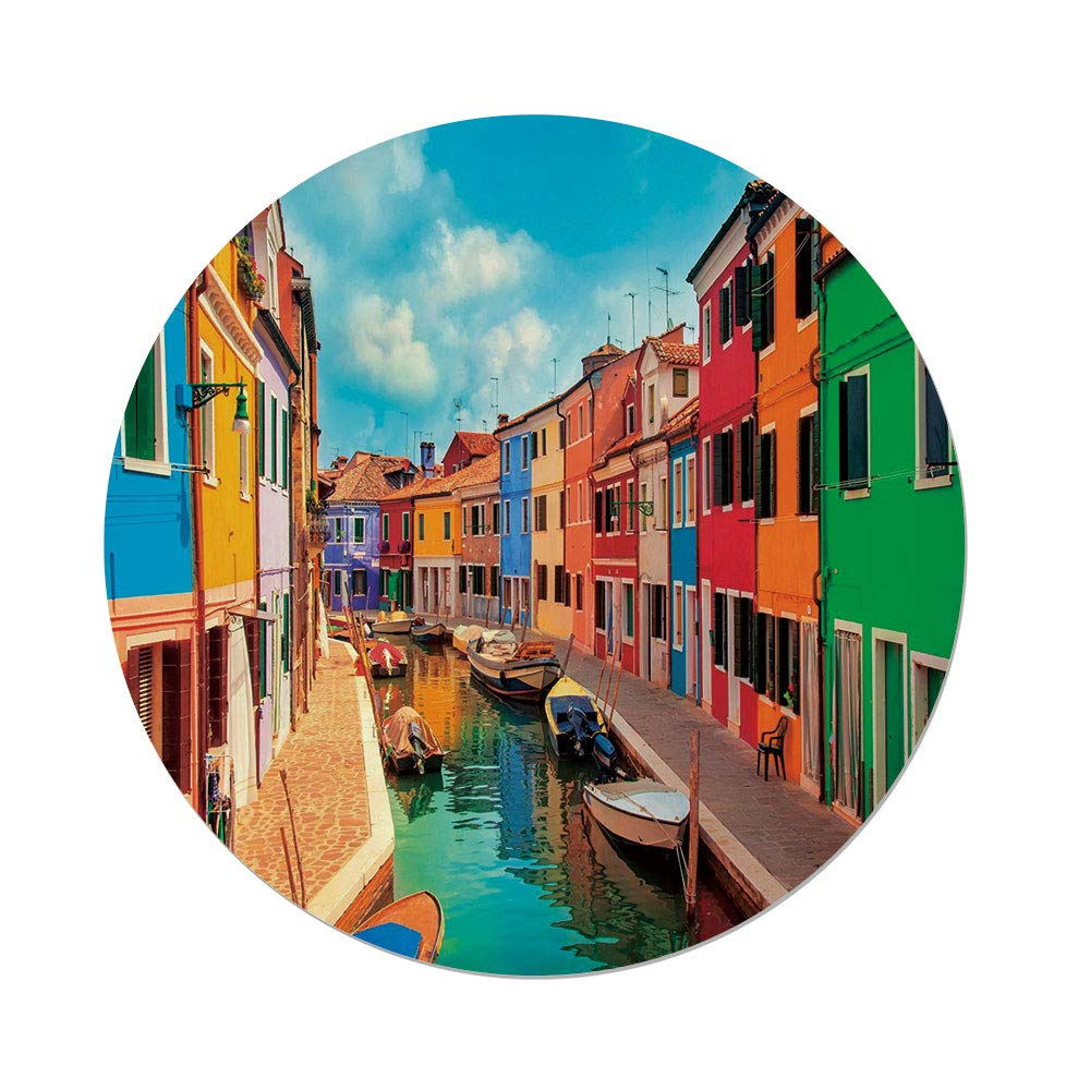 iPrint Polyester Round Tablecloth,Venice,Colorful Buildings and Water Canal with Boats Burano Island in the Venetian Lagoon,Multicolor,Dining Room Kitchen Picnic Table Cloth Cover,for Outdoor Indoor