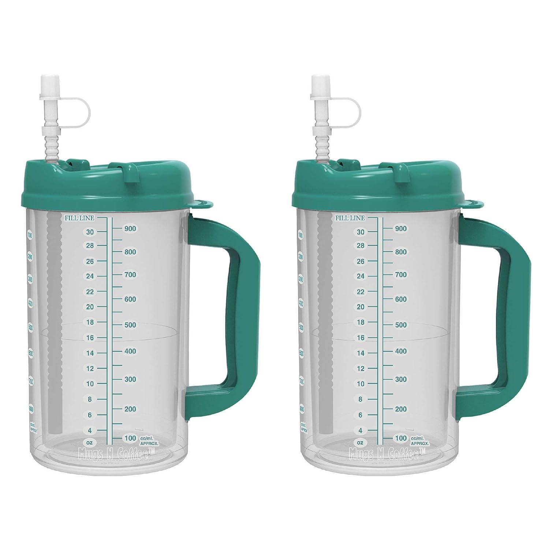 Includes Straw Cold Drink Mug Large Carry Handle 1, Purple 32 oz Double Wall Insulated Hospital Mug