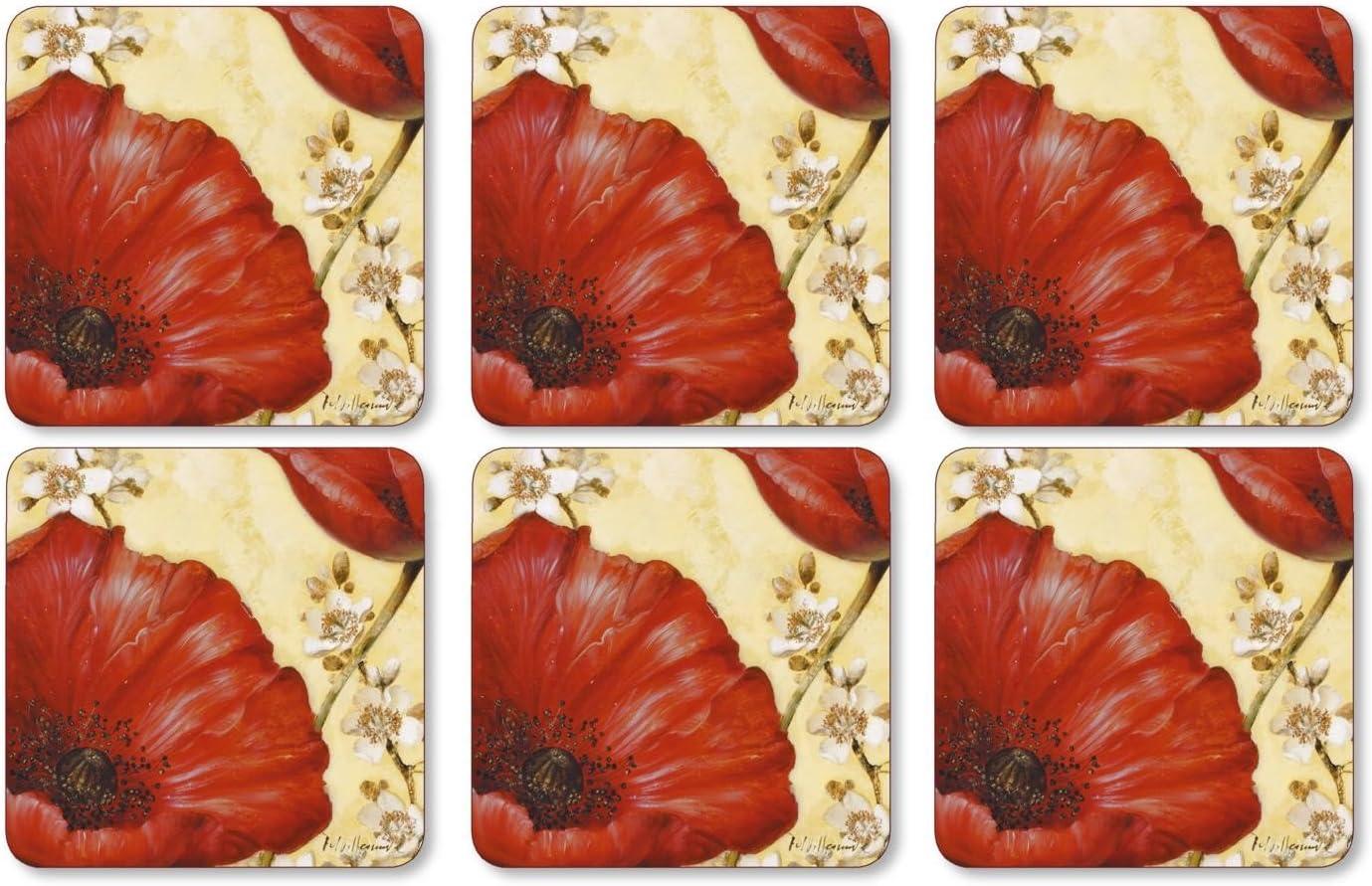 Pimpernel Poppy de Villeneuve Collection Coasters - Set of 6