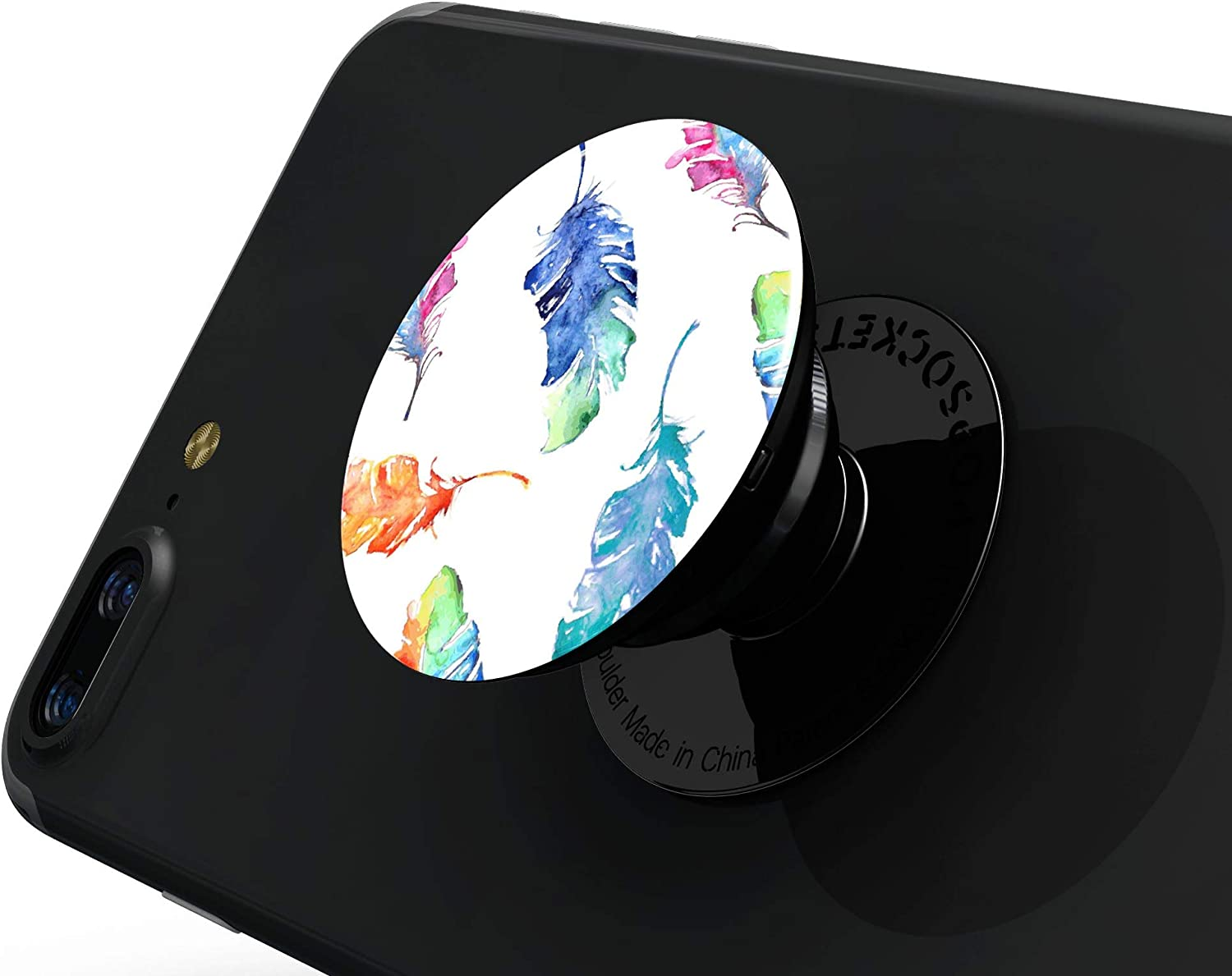 DesignSkinz Premium Decal Sticker Skin-Kit for PopSockets Smartphone Extendable Grip /& Stand Colorful Watercolor Feathers