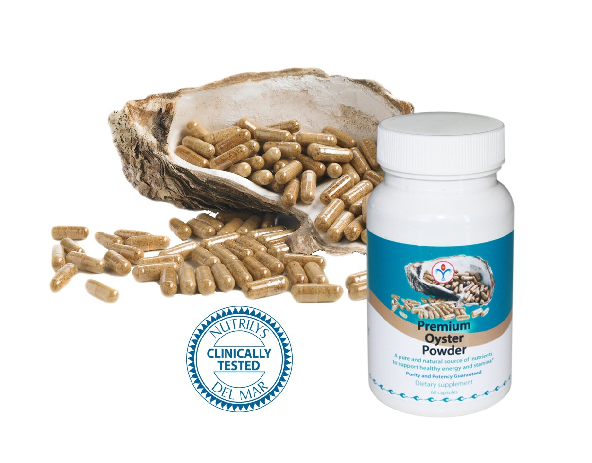 Premium Oyster Meat Powder - Zinc and Trace Element Benefits from Oyster Meat Extraction - 60 capsules - Purity & Potency Guaranteed