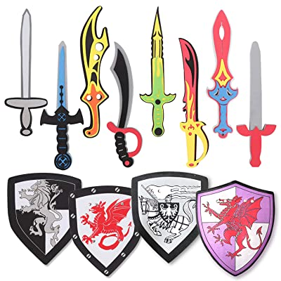 Pack of 12 Foam Swords and Shields Playset, Medieval Combat Ninja Warrior Weapons Costume Role Play Accessories for Kids Party Favors: Toys & Games