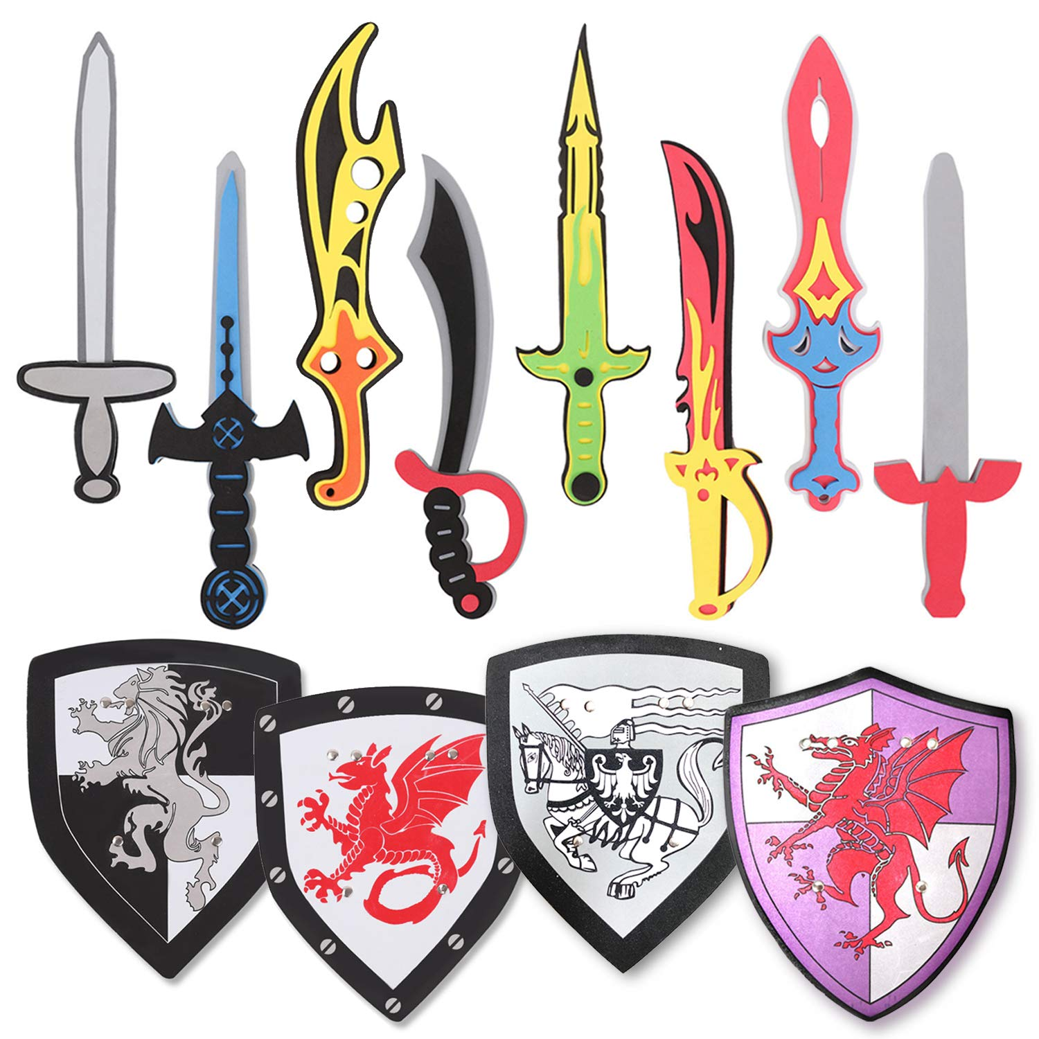 Pack of 12 Foam Swords and Shields Playset, Medieval Combat Ninja Warrior Weapons Costume Role Play Accessories for Kids Party Favors