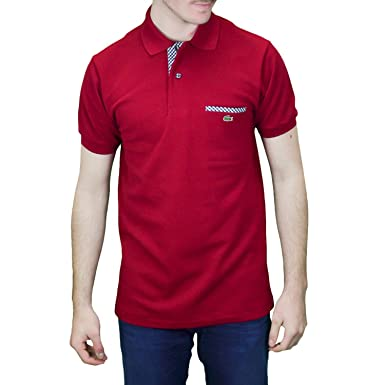 Pour Polo Rouge Homme Lacoste 2 Boutons Bordeaux W2DeH9IYbE