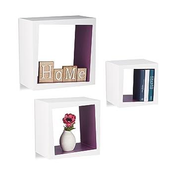 Relaxdays Wandregal 3er Set Quadratisch 25cm Tiefe Bücher CDs DVDs  Wohnzimmer Kinderzimmer Deko,weiß