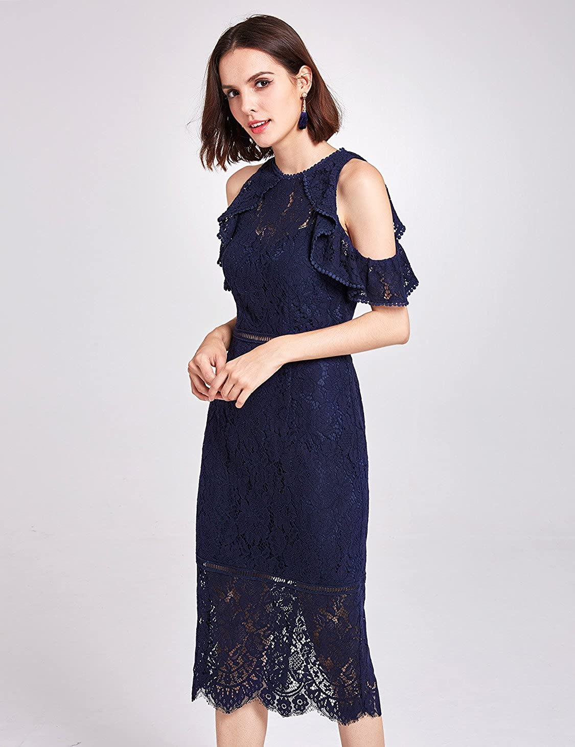 a278c20368d Alisa Pan Cold Shoulder Slim Fit Floral Lace Dress 05920 at Amazon Women s  Clothing store