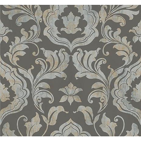 york gf0701 gold leaf contempo damask wallpaper dark grey metallic silver metallic
